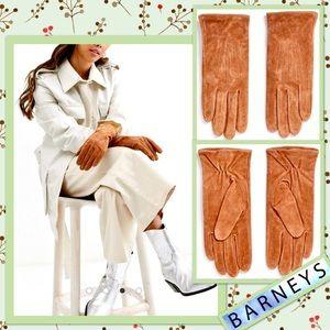 🌻 Barney's Originals Real Suede Gloves in Tan 🌻